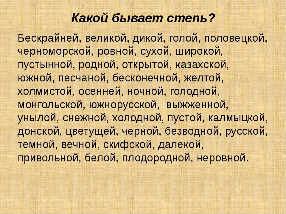 Какой бывает степь? Бескрайней, великой, дикой, голой, половецкой, черноморск...
