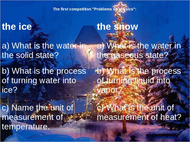 "The first competition ""Problems on physics"": the ice the snow a) What is the..."