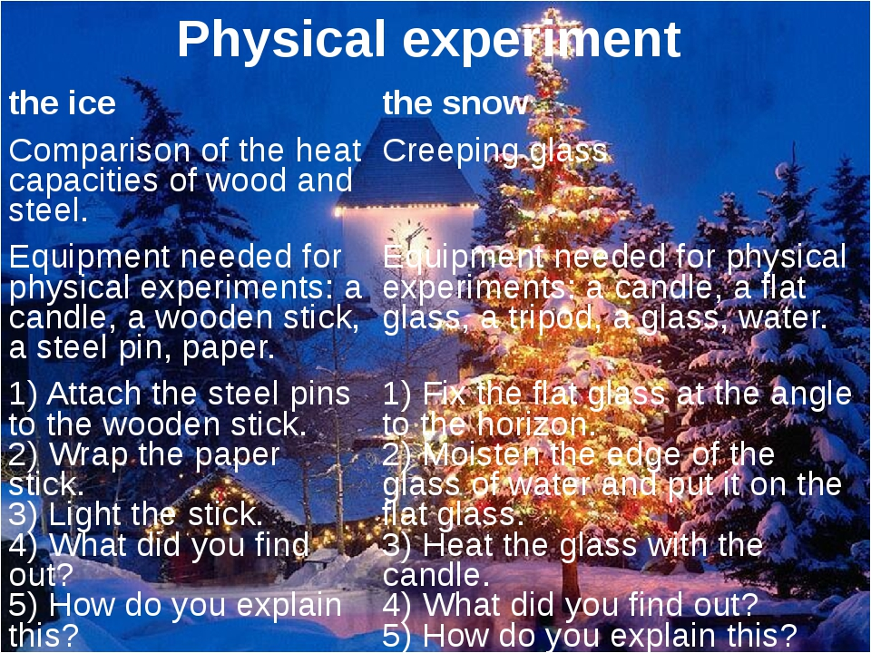 Physical experiment the ice the snow Comparison of the heat capacities of woo...