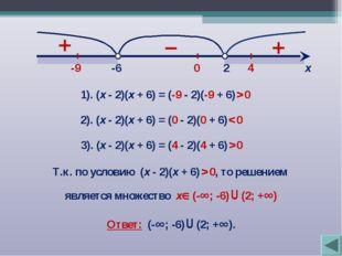 2 -6 х 1). (х - 2)(х + 6) = (-9 - 2)(-9 + 6) > 0 -9 2). (х - 2)(х + 6) = (0 -