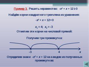Пример 3. Решить неравенство: -х2 + х + 12 ≥ 0 Найдём корни квадратного трехч