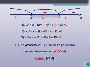 + – 4 -3 х 1). -х2 + х + 12 = -(-7)2 + (-7) + 12 < 0 -7 0 6 – Т.к. по условию