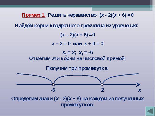 Пример 1. Решить неравенство: (х - 2)(х + 6) > 0 Найдём корни квадратного тре...