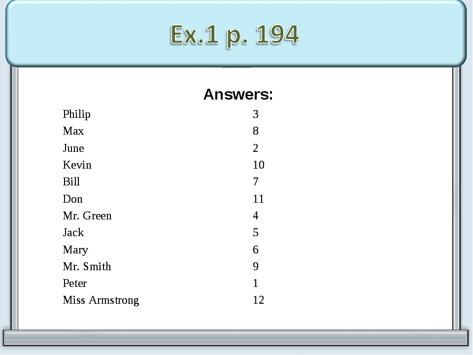 Answers: Philip	3 Max	8 June	2 Kevin	10 Bill	7 Don	11 Mr. Green	4 Jack	5 Mar...