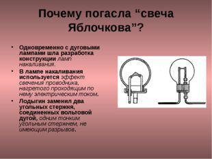 """Почему погасла """"свеча Яблочкова""""? Одновременно с дуговыми лампами шла разрабо"""