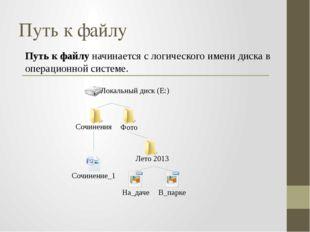 Путь к файлу начинается с логического имени диска в операционной системе. Пут