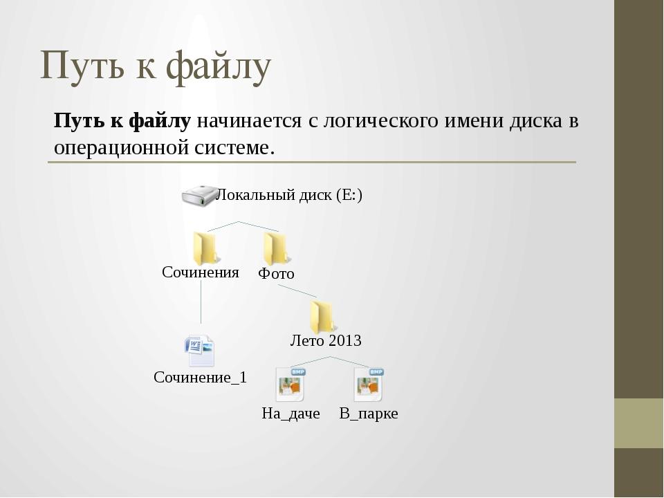 Путь к файлу начинается с логического имени диска в операционной системе. Пут...