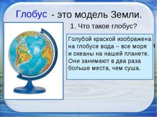 2. Какого цвета больше на глобусе, каким кажется глобус? Голубой краской изоб