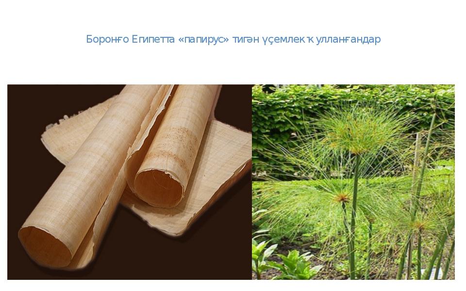 Боронғо Египетта «папирус» тигән үҫемлек ҡулланғандар