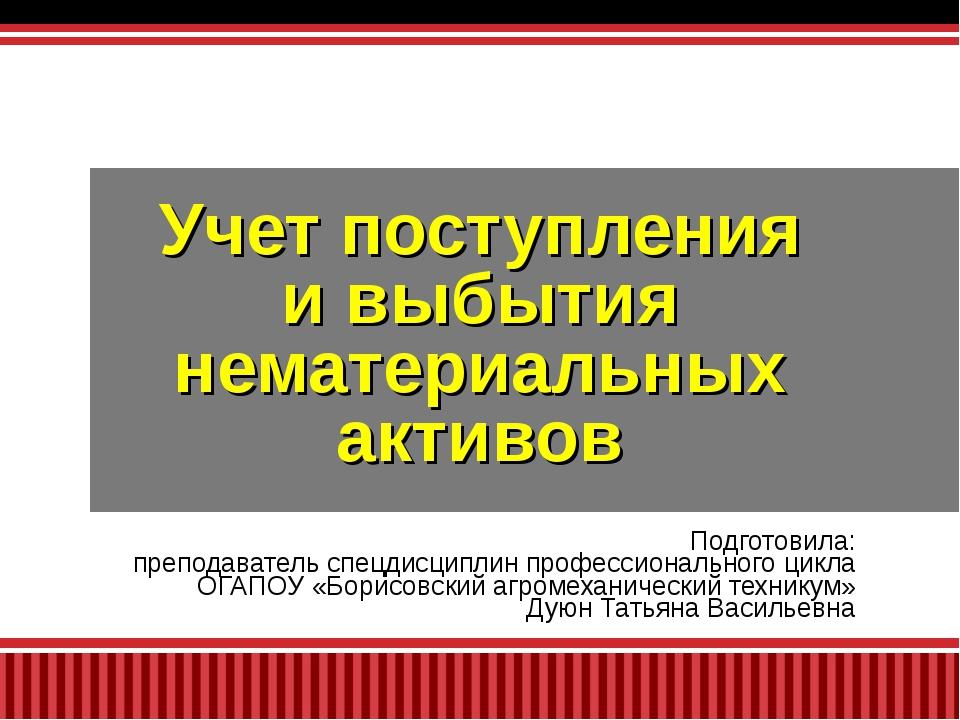 Подготовила: преподаватель спецдисциплин профессионального цикла ОГАПОУ «Бори...