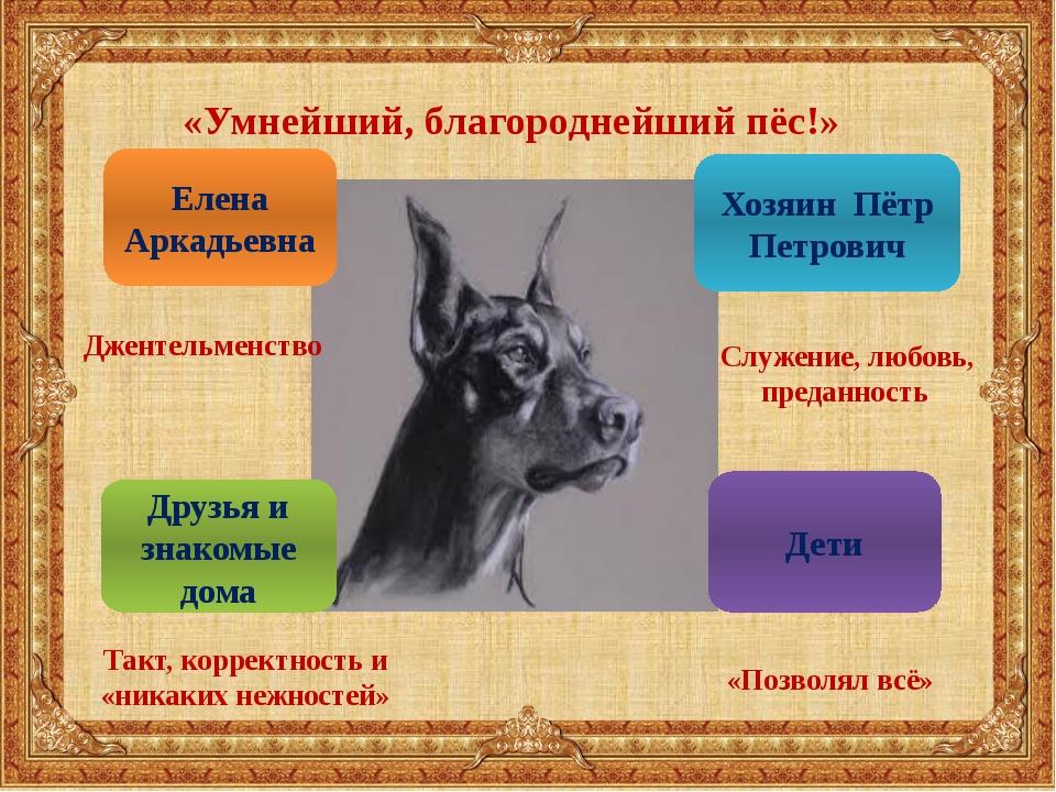 «Умнейший, благороднейший пёс!» Елена Аркадьевна Джентельменство Хозяин Пётр...