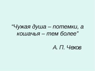 """""""Чужая душа – потемки, а кошачья – тем более"""" А. П. Чехов"""