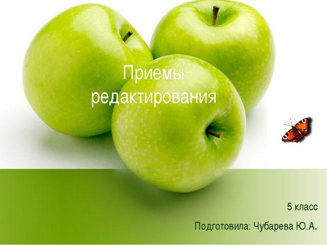 Приемы редактирования 5 класс Подготовила: Чубарева Ю.А.