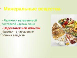 Минеральные вещества - Являются незаменимой составной частью пищи - Недостато