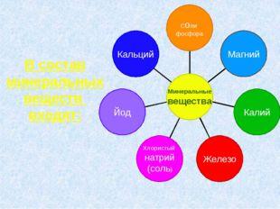 В состав минеральных веществ входят: Кальций Йод Хлористый натрий (соль) Жел