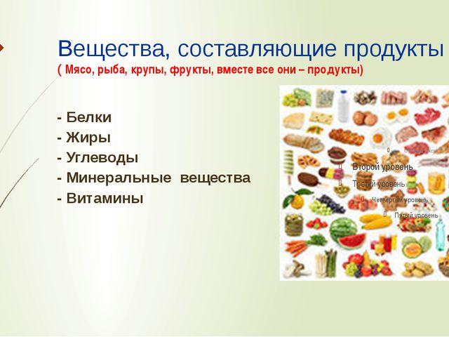 Вещества, составляющие продукты ( Мясо, рыба, крупы, фрукты, вместе все они –...