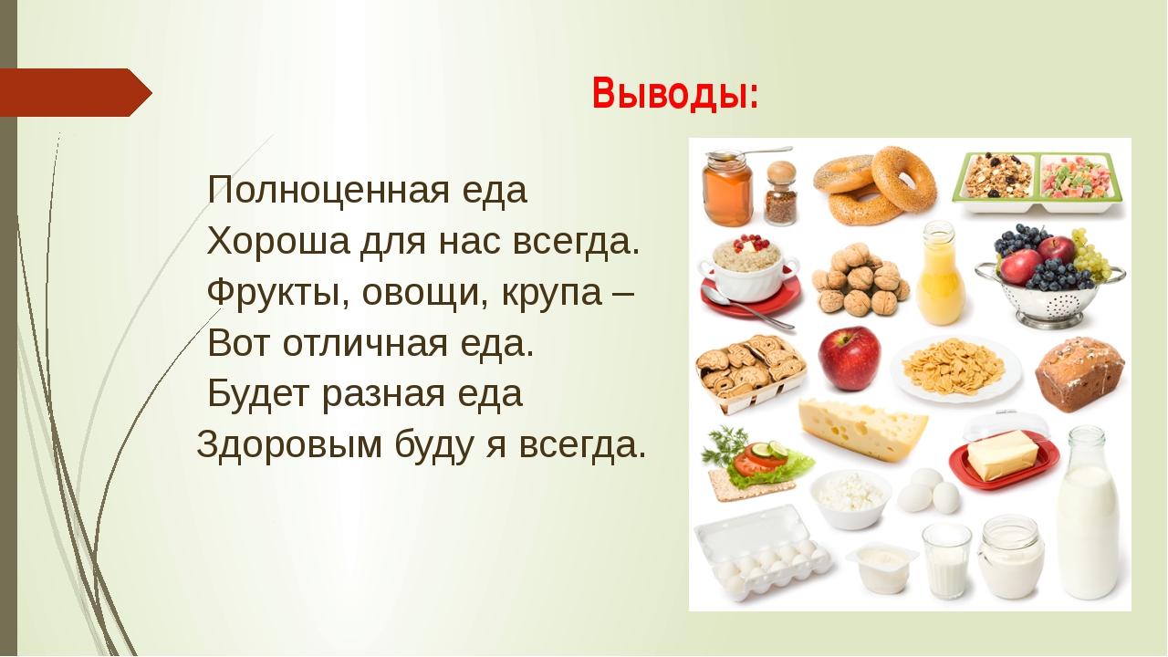 Выводы: Полноценная еда Хороша для нас всегда. Фрукты, овощи, крупа – Вот отл...