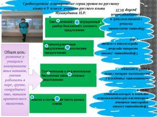 Среднесрочное планирование серии уроков по русскому языку в 9 классе учителя