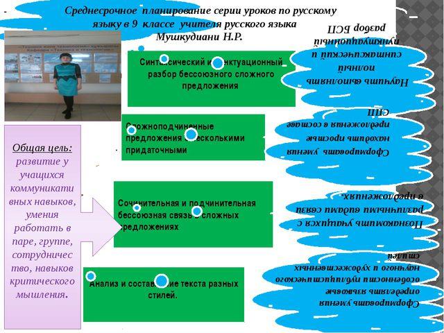 Среднесрочное планирование серии уроков по русскому языку в 9 классе учителя...
