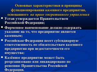 Основные характеристики и принципы функционирования казенного предприятия, о