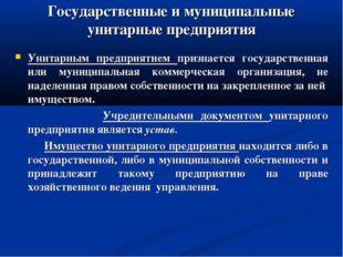 Государственные и муниципальные унитарные предприятия Унитарным предприятием
