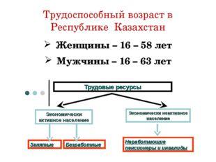 Трудоспособный возраст в Республике Казахстан Женщины – 16 – 58 лет Мужчины –