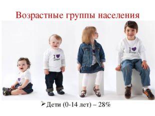 Дети (0-14 лет) – 28% Возрастные группы населения