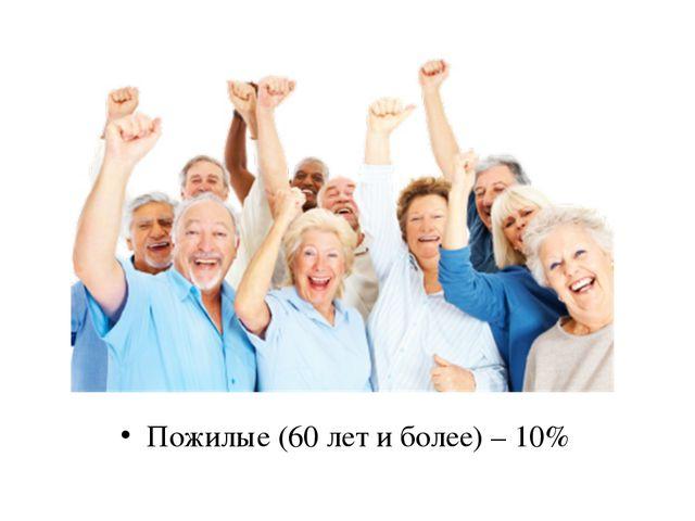 Пожилые (60 лет и более) – 10%