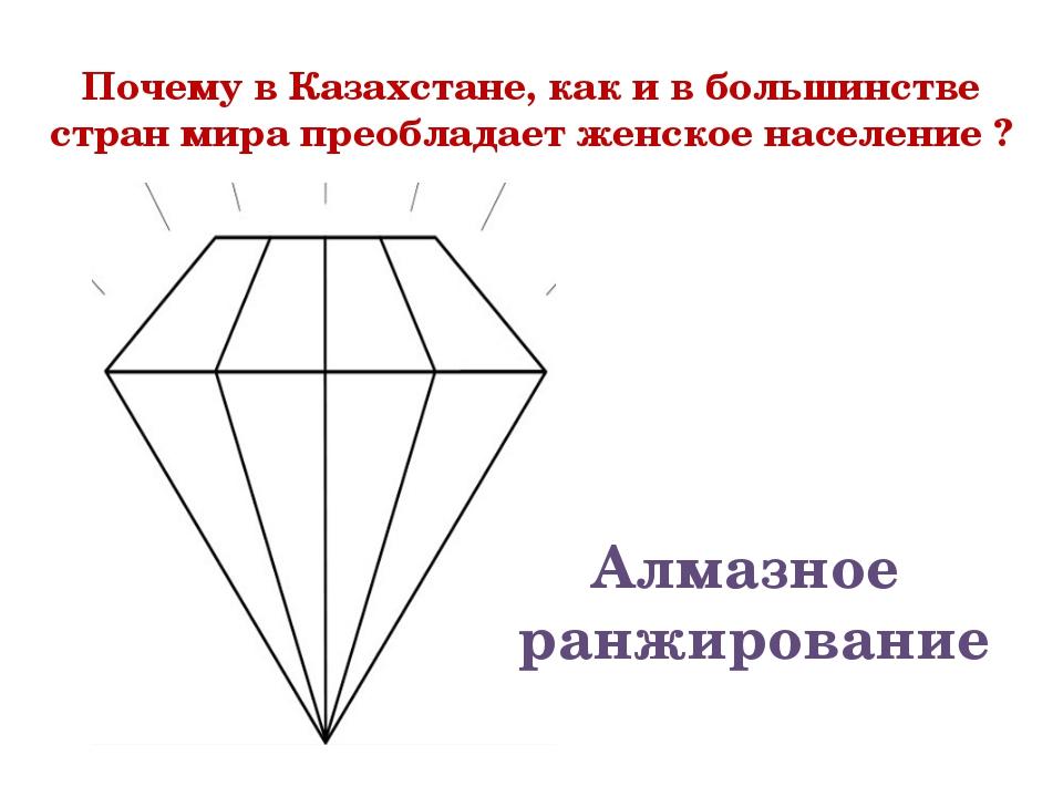 Почему в Казахстане, как и в большинстве стран мира преобладает женское насел...