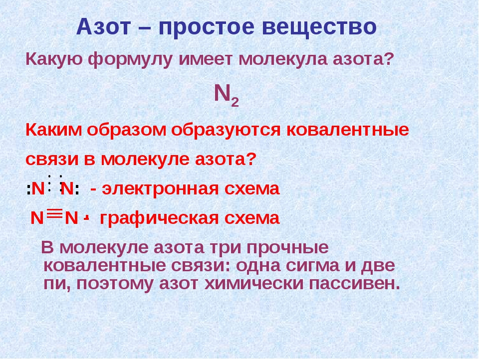 Азот – простое вещество Какую формулу имеет молекула азота? N2 Каким образом...