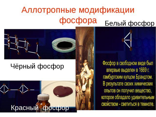 Аллотропные модификации фосфора Чёрный фосфор Красный фосфор Белый фосфор