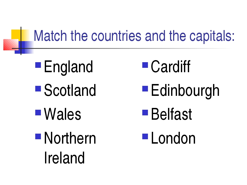 Match the countries and the capitals: England Scotland Wales Northern Ireland...