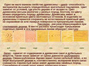 Одно не мало важное свойство древесины – цвет- способность материалов вызыва