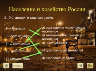 Население и хозяйство России Миграция Агломерация Депопуляция Урбанизация Мег