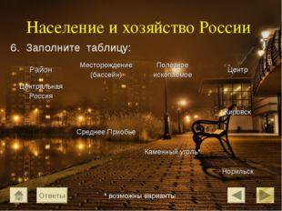 Население и хозяйство России 6. Заполните таблицу: Ответы * возможны варианты