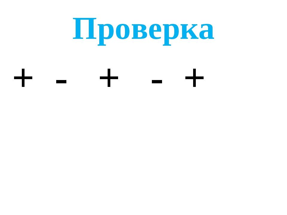 Проверка + - + - +