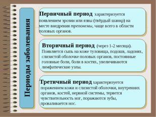 Периоды заболевания Первичный период характеризуется появлением эрозии или яз