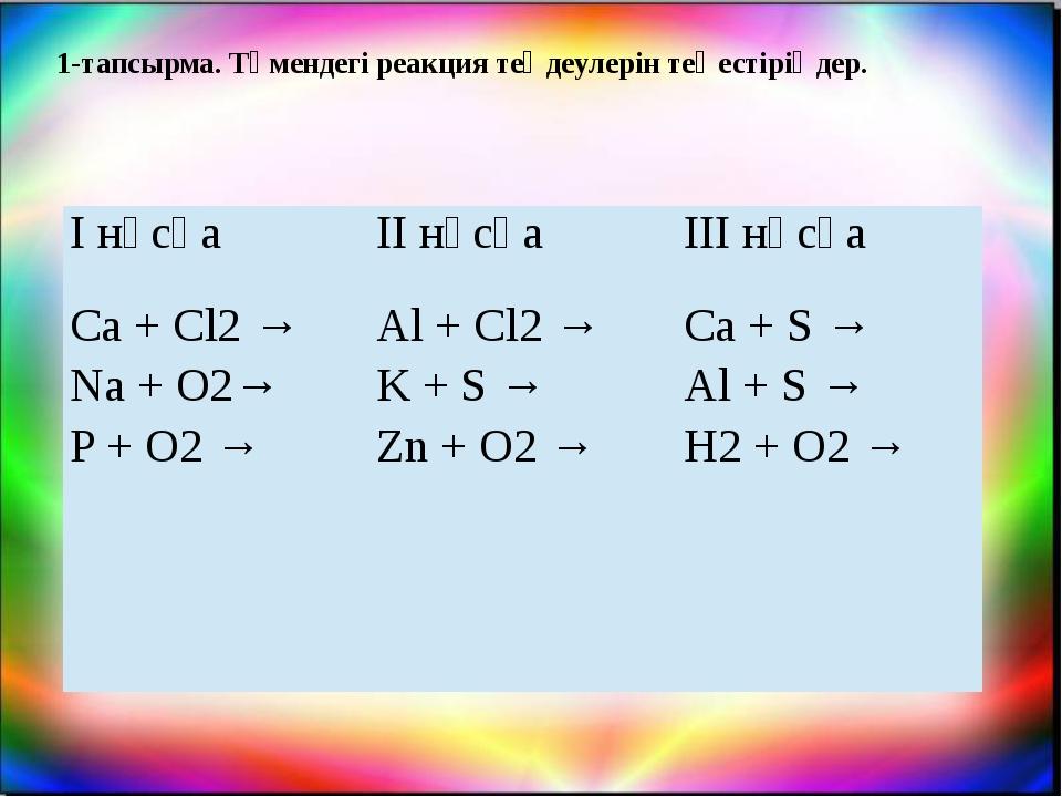 1-тапсырма. Төмендегі реакция теңдеулерін теңестіріңдер. І нұсқа ІІ нұсқа ІІІ...
