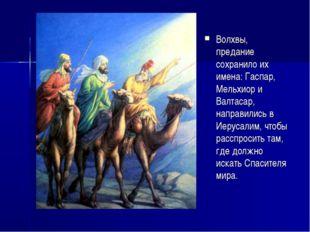 Волхвы, предание сохранило их имена: Гаспар, Мельхиор и Валтасар, направились