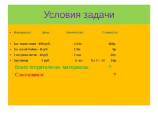 Условия задачи Материалы: Цена: Количество: Стоимость: 1м. ткани стоит –150 р