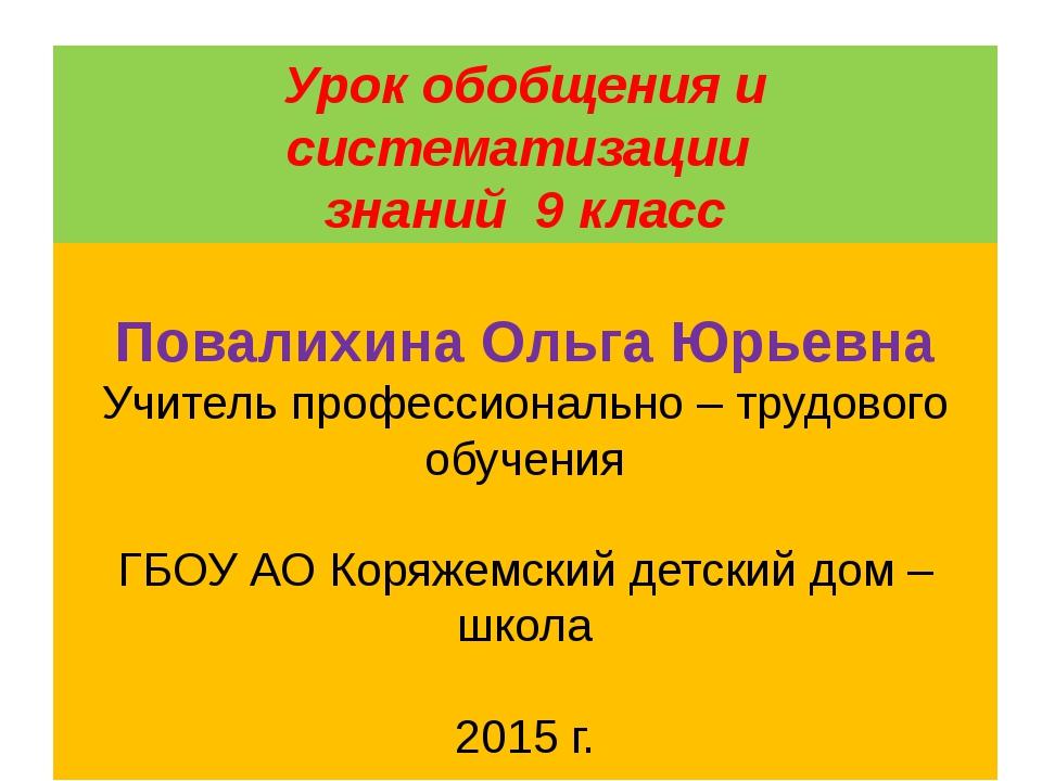 Урок обобщения и систематизации знаний 9 класс По теме «Блузка» Повалихина Ол...