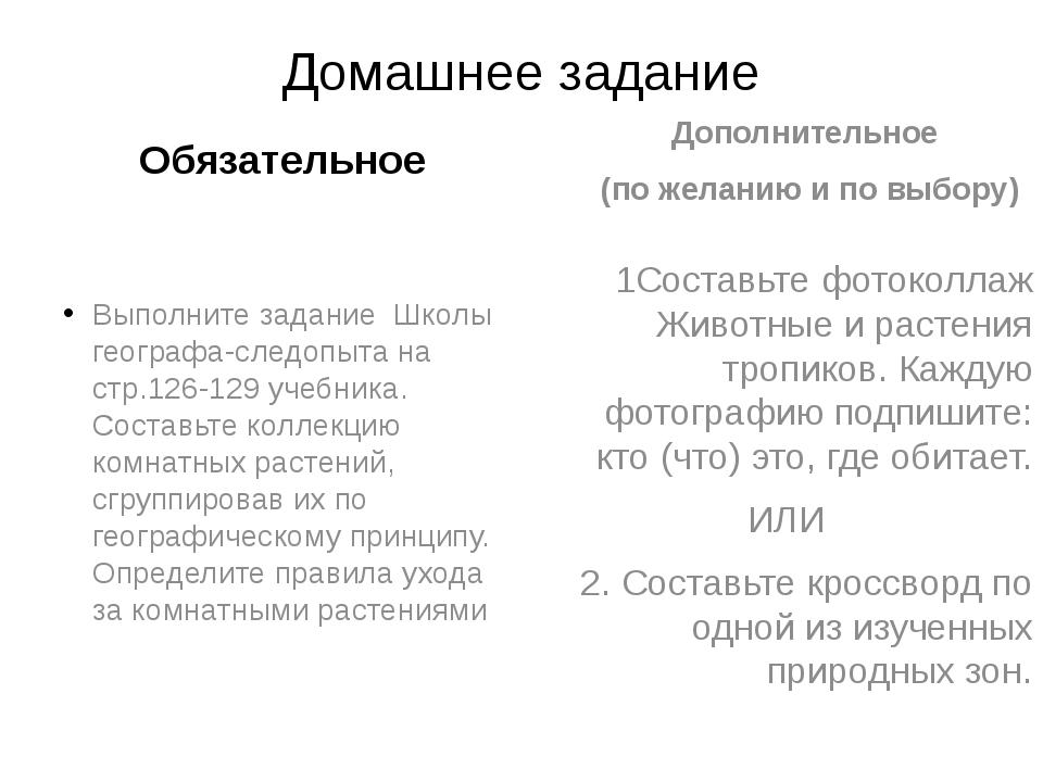 Домашнее задание Обязательное Выполните задание Школы географа-следопыта на с...