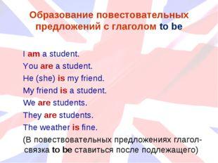Образование повестовательных предложений с глаголом to be I am a student. You