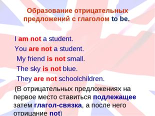 Образование отрицательных предложений с глаголом to be. I am not a student. Y