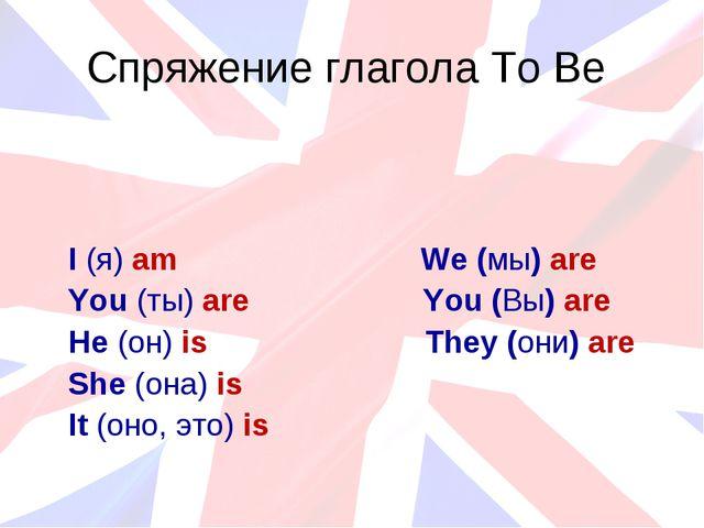 Спряжение глагола To Be I (я) am We (мы) are You (ты) are You (Вы) are He (он...