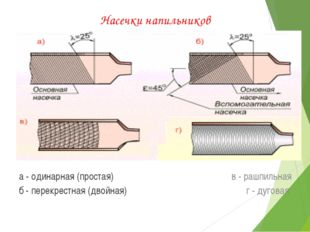 Насечки напильников а - одинарная (простая) б - перекрестная (двойная) в - ра