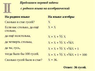 Предлагаем перевод задачи с родного языка на алгебраический Ответ: 36 гусей.