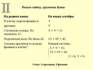 Решим задачу, применяя буквы Ответ: 6 кроликов, 9 фазанов На родном языкеНа