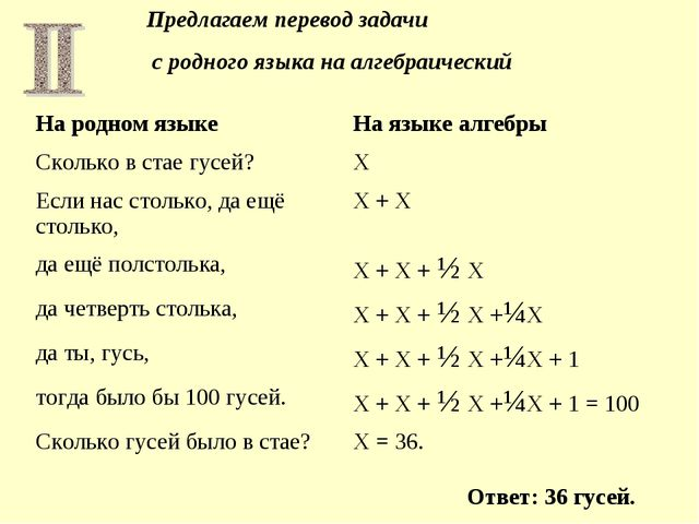 Предлагаем перевод задачи с родного языка на алгебраический Ответ: 36 гусей....