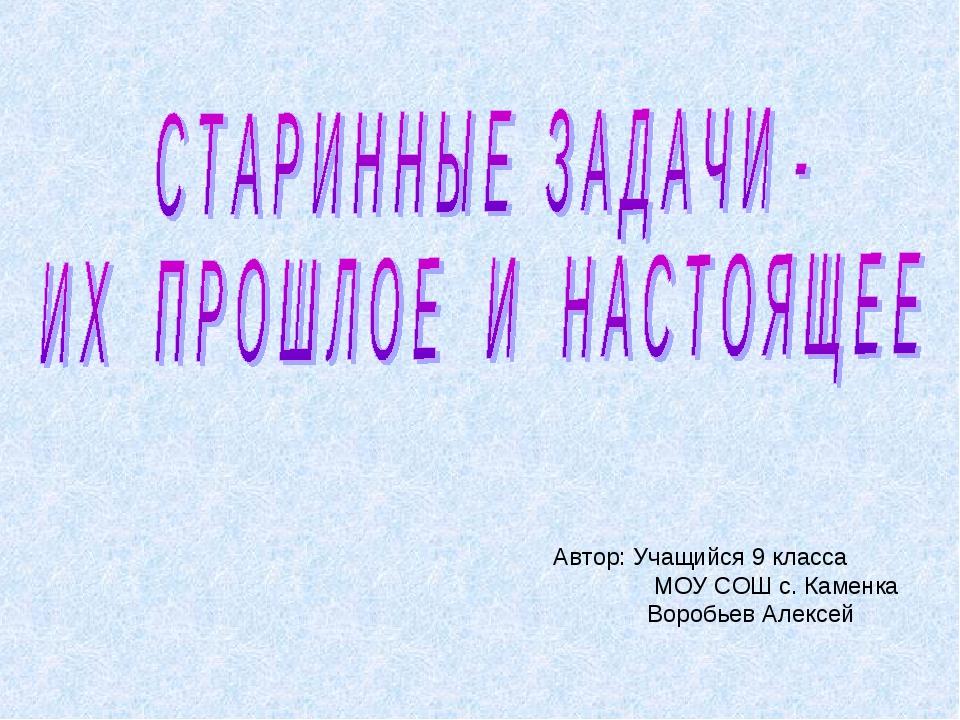 Автор: Учащийся 9 класса МОУ СОШ с. Каменка Воробьев Алексей